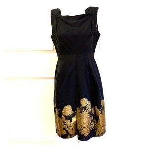 Elie Tahari Black and Gold Cotton Origami Dress